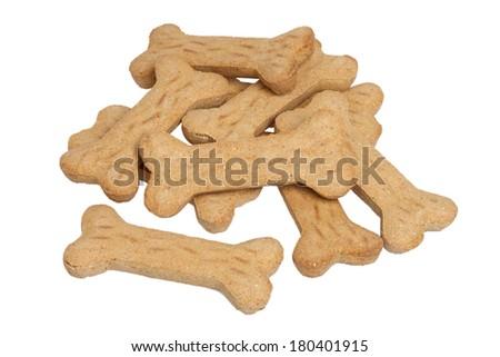 Dog bone treats, cut out on white background - stock photo