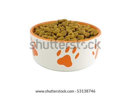 Dog bowl with pet food on a white background close-up - stock photo
