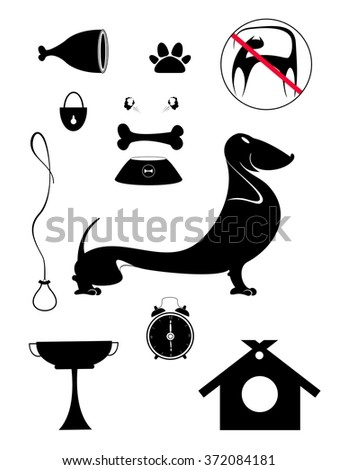 Dog breeding objects collection for design. Dog breeding objects silhouette collection for design  - stock photo