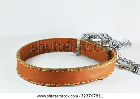 dog brown leather collar and lead chain - stock photo