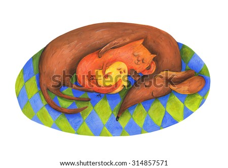 Dog, cat and chicken sleep. Watercolor and gouache Illustration. Hand drawing - stock photo
