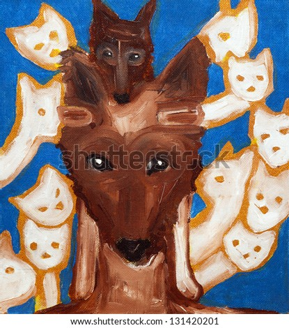 dog, cat, friend, painting - stock photo