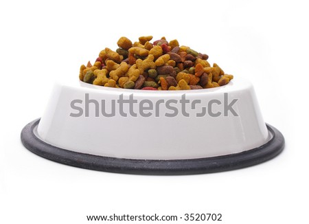 Dog dish full of healthy kibble, isolated over white.