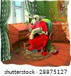 Dog embroiderer (the same picture you can see in vector in my portfolio) - stock photo
