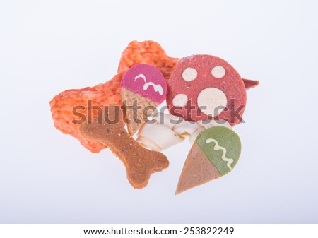 Dog favourite food with bone  and stick shapes - stock photo