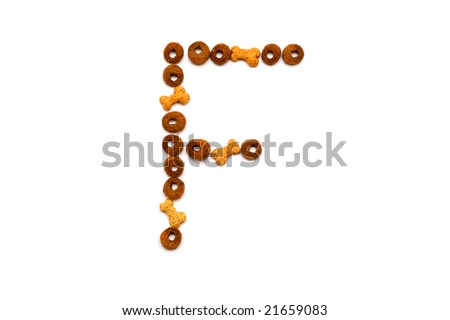 Dog food alphabet - F - stock photo