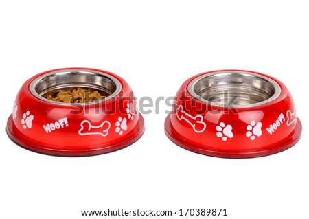 dog food bowl isolated in white - stock photo