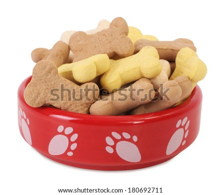 Dog food bowl with dog biscuits shaped like bones - stock photo