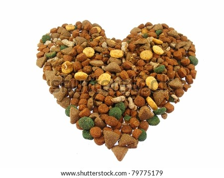 Dog Food in Heart Shape - stock photo