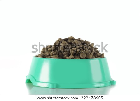 Dog food in ocean green bowl, white studio background - stock photo