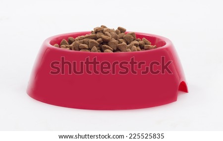 Dog food in red bowl, white studio background - stock photo