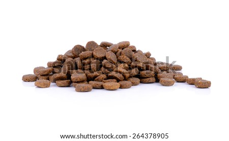 dog food isolated on white background, group