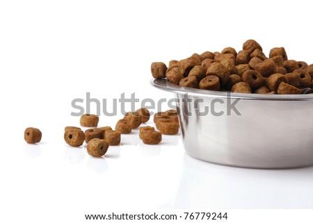 Dog food isolated on white, closeup - stock photo