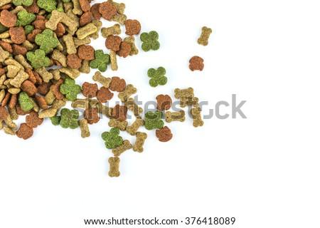 Dog food on white background./ Dog food - stock photo