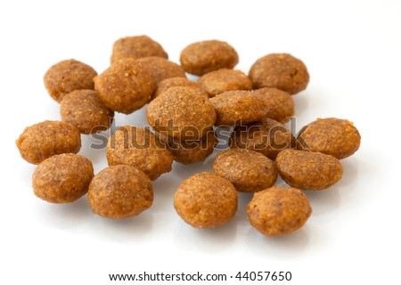DOG FOOD REFERS TO FOOD SPECIFICALLY INTENDED FOR CONSUMPTION BY DOGS. LIKE ALL CARNIVORANS, DOGS HAVE SHARP TEETH, AND HAVE SHORT GASTROINTESTINAL TRACTS BETTER SUITED FOR THE CONSUMPTION OF MEAT  - stock photo