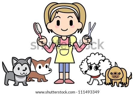 Dog groomer&Dogs - stock photo