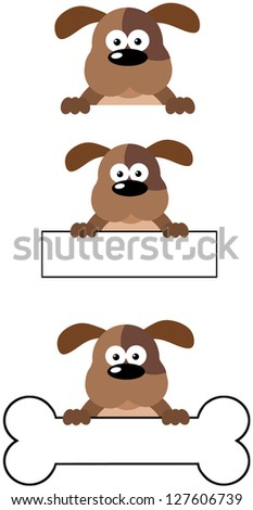 Dog Head Cartoon Mascot Characters- Collection. Raster Illustration.Vector Version Also Available In Portfolio. - stock photo