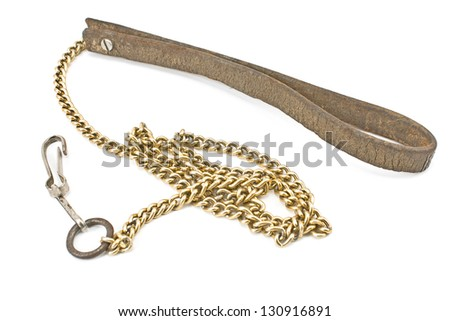 Dog leather and chain leash isolated on white - stock photo