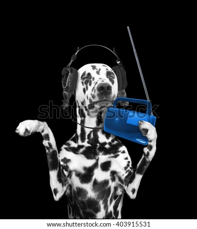 Dog listening to music and dancing -- isolated on black background