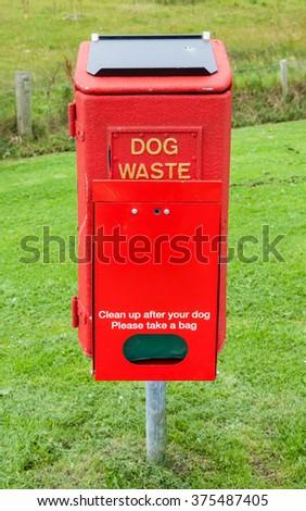 Dog Litter Bin.  A dog litter bin in Lerwick, the Shetland Isles, Scotland. - stock photo
