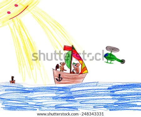 dog on sailboat. child drawing. - stock photo