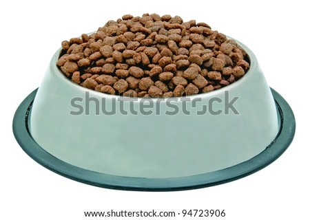 dog or cat food in metal bowl - stock photo