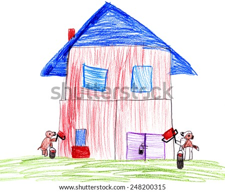 Dog paint their house. child drawing. - stock photo