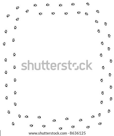dog paw print border on white background - stock photo