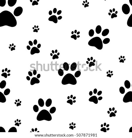 Dog paw print seamless. Traces of Cat Textile Pattern. Vector seamless. Rasterized copy.