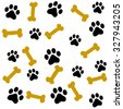 Dog paw prints and bone seamless pattern - stock vector