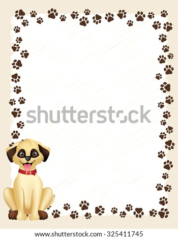 dog paw prints border frame on white background and cute dog - Dog Frame