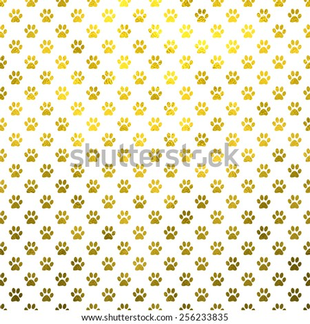 Dog Paws Gold White Metallic Foil Polka Dot Texture Background Pattern  - stock photo