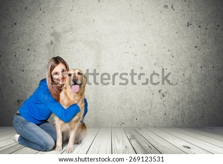 Dog. Portrait of happy woman and girl with a dog isolated on white background - stock photo