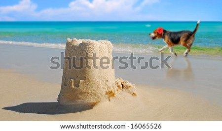 Dog prancing by pretty sand castle built at seashore - stock photo