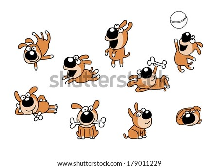 Dog, puppy having fun, playing with a ball, holding a bone jumping - stock photo