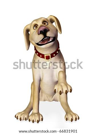 dog shake hand - stock photo