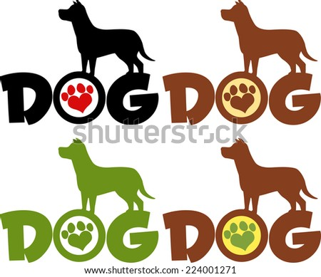 Dog Silhouette Over Text With Love Paw Print Different Colors. Raster Collection Set - stock photo