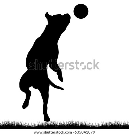 Vector Black Silhouette Jumping Dog Frisbee Stock Vector ...