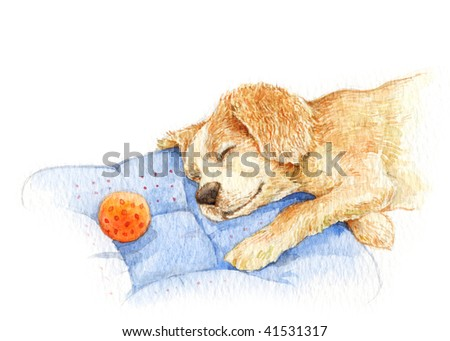 dog sleeping watercolor - stock photo