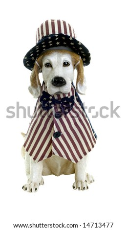 Dog statue dressed in patriotic vest, hat, and bow tie - stock photo