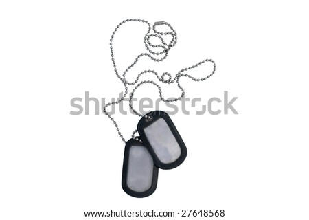 Dog tags isolated on white with clipping path through every link actually worn in Iraq