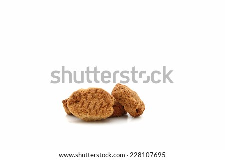Dog treats or biscuits isolated on a white background - stock photo