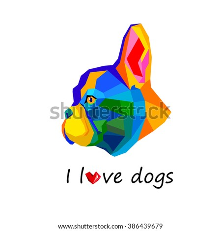dog vector breed cute pet animal bulldog french - stock photo