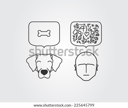 Dog versus human thoughts in brains - stock photo