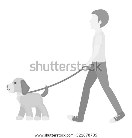 Dog walk bitmap icon in monochrome style for web