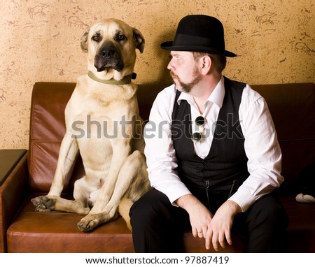 Dog with man