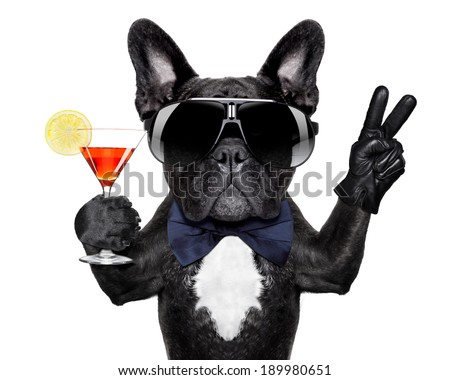 dog with martini cocktail and victory or peace fingers - stock photo