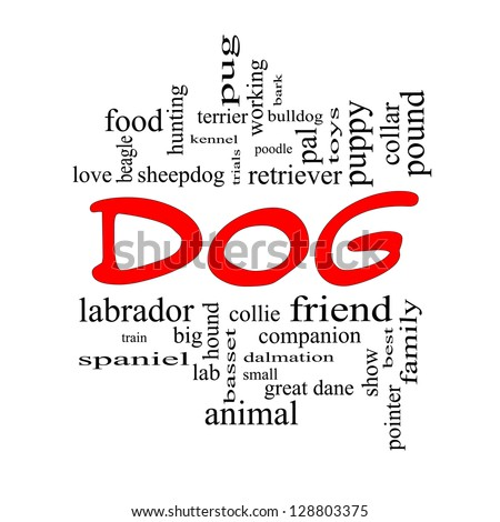 Dog Word Cloud Concept in red caps with great terms such as love, friend, best, hound and more. - stock photo