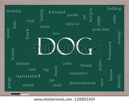 Dog Word Cloud Concept on a Blackboard with great terms such as love, friend, best, hound and more. - stock photo