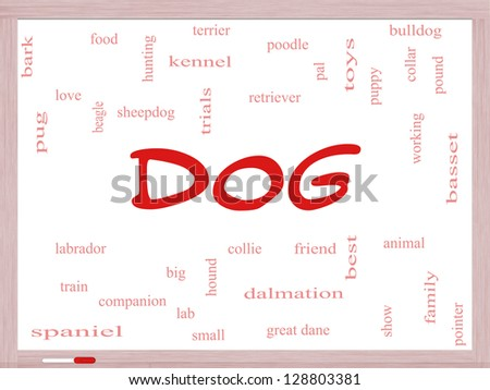 Dog Word Cloud Concept on a Dry Erase Board with great terms such as love, friend, best, hound and more. - stock photo